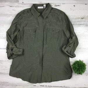 Chico's Olive Green Button Front Blouse Size 1